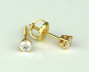 Sheetal Diamonds 0.25tcw Real Round Solitaire Diamond Stud 14k Yellow Gold Certified Earring