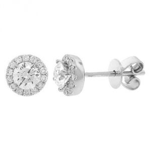 Sheetal Diamonds Real Round 0.70Ctw Diamonds Cluster Certified Earring In 14k White Gold