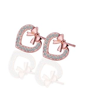 Sheetal Diamonds 0.30tcw Real Round Diamond Heart Shpe 14k Rose Gold Earring E0383