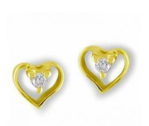 0.04 Cts Certified Real Heartshapediamond Earrings