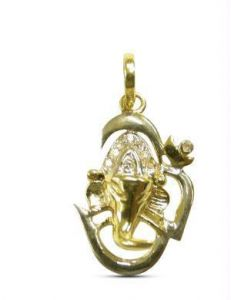 0.09 Cts Ganpati Real Diamond Certified Pendant
