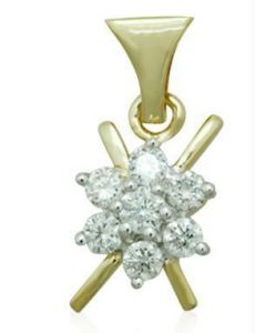 0.15 Cts Certified Real Diamond Pendant In Gold