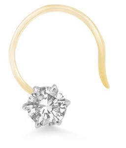 Sheetal Diamonds 0.10tcw Real Round Diamond Solitaire Certified Nose Pin 14k Yellow Gold Pn002