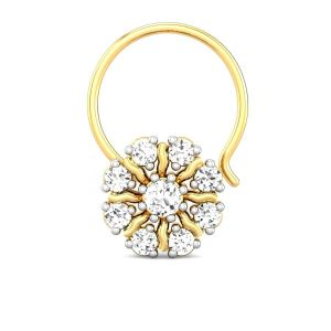Diamond Nose Rings, Pins - Sheetal Diamonds 0.40TCW Real Round Diamond Certified Nose Pin In Yellow Gold P-N003-10K