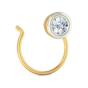 Sheetal Diamonds 0.12Ct Real Round Diamond  Party Wear Nose Pin P-N004-10K