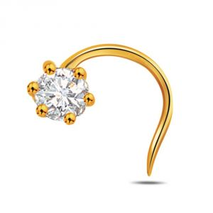 Diamond Nose Rings, Pins - Sheetal Diamonds 0.10ct Real Round Diamond Party Wear Nose Pin P-N019-18K