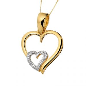 Sheetal Diamonds 0.30TCW Real Round Diamond In Double Heart Shape Party Wear Pendant In 10K Yellow Gold P0155