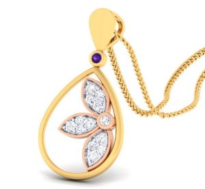 Sheetal Diamonds 0.30tcw Gorgeous Real Round Diamond Designer Wedding Pendant 14k Yellow Gold P0178-14k