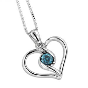 Sheetal Diamonds Real Blue Diamond Pendant In Heat Shape 14k White Gold P0182