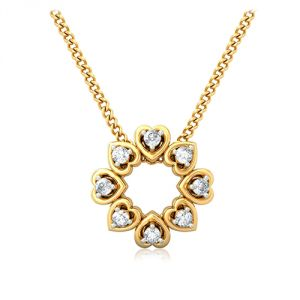 Sheetal Diamonds 0.25TCW Real Round Diamond Heart Shape Pendant Without Chain P0197-14K