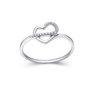 Sheetal Diamond Real Natural Diamond Certified Heart Shape Ring 14k White Gold R0008