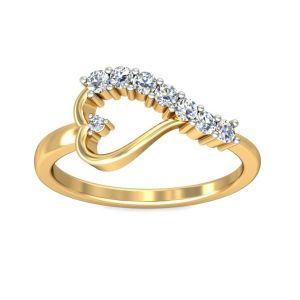 Sheetal Diaomds 0.15tcw Brilliant Round Cut Diamond Heart Shape Wedding Ring R0012-18k
