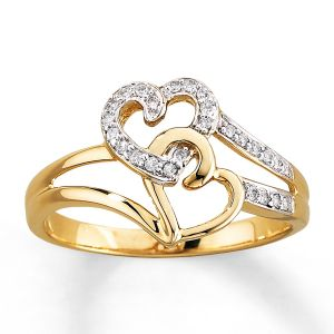 Sheetal Diamonds 0.25tcw Double Heart Shape Ring In 14k Yellow Gold R0017