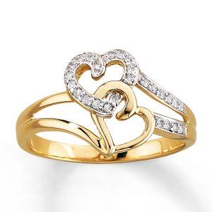 Sheetal Diamonds 0.25TCW Double Heart Shape Ring In 14k Yellow Gold R0017