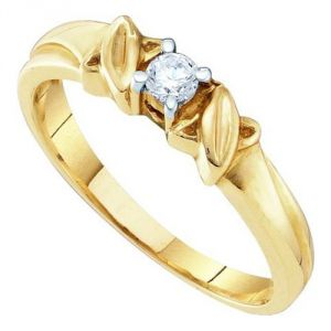 Sheetal Diamonds 0.15TCW Real Round Single Diamond Wedding Ring R0027-10K