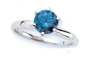 Sheetal Diamonds 0.65tcw Real Natural Round Blue Solitaire Diamond Ring R0210-14k