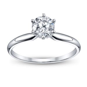 Real Round Diamond Brilliant Round Cut Solitaire Diamond Ring 18k White Gold R0225-18k