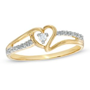 Sheetal Diamonds 0.15tcw Real Natural Round Diamond Heart Shape Certified Ring 14k Yellow Gold R0239