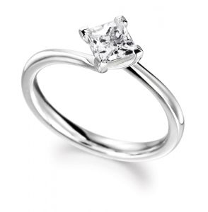 Sheetal Diamonds 0.15TCW New Fashionable Real Round Princess Diamond Engagement Ring 18K White Gold R0255-18K