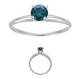 Solitaire Blue 0.50tcw Real Round Diamond Engagement Ring In 14k White Gold R0275