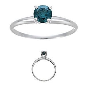 Sheetal Diamonds 0.50tcw Solitaire Blue Round Cut Diamond Daily Wear Ring R0275-18k