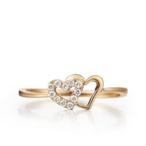 Sheetal Diamond 0.15tcw Real Round Diamond Heart Shape Ring 14k Yellow Gold R0350