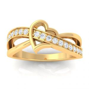 Sheetal Diamonds 0.35tcw Real Round Diamond Heart Shape 14k Gold Ring R0413