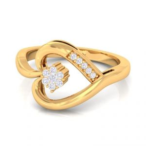 Sheetal Diamonds Real Round Diamond 0.25tcw Heart Shape Ring 14k Yellow Gold R0422