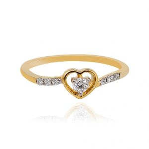 Sheetal Diamonds 0.20tcw Real Natural Round Cut Diamond Heart Shape Daily Wear Ring R0441-10k