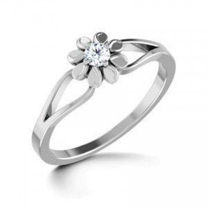 Diamond Rings - Sheetal Diamonds 0.15TCW Real Round Diamond Ring In White Gold R0443-18K