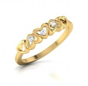 Sheetal Diamonds 0.15TCW Real Round Three Diamond Heart Shape Ring R0458-14K