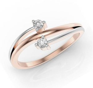 Sheetal Diamonds 0.06tcw Real Round Two Diamond Unique Party Wear 14k Rose Ring R0475