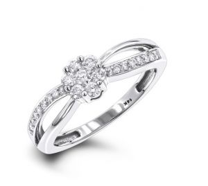 Sheetal Diamonds 0.45TCW Real Round Diamond Engagement Ring R0629W-18K