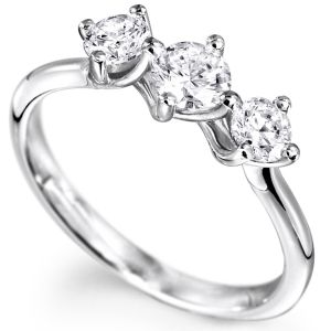 Sheetal Diamonds 0.40tcw Real Round Shape Three Diamond Party Wear Ring 18k White Gold R0725-18k