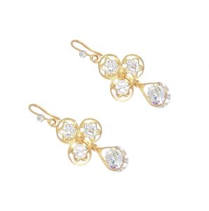 Fashblush Golden Crystal Hot Shining Dangle Earring ( Set Of 2 Pairs ) (product Code Fb20232)