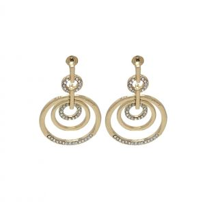 Fashblush Gorgeous Three Circle Zircon Alloy Golden Dangle Earring(product Code - Fb20241)