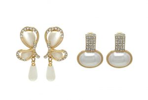 Fashblush Eccentric Golden Geometric (set Of 2) Zircon, Pearl Alloy Dangle Earring(product Code - Fb20248)