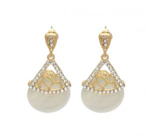 Fashblush Cute Golden Geometric Zircon Alloy Dangle Earring(product Code - Fb20249)