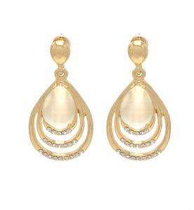 Fashblush Cute Golden Geometric Zircon Alloy Dangle Earring(product Code - Fb20250)
