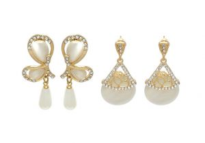 Fashblush Chic Golden Geometric (set Of 2) Zircon, Pearl Alloy Dangle Earring(product Code - Fb20252)