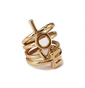 Fashblush Forever Glam Love Letters Midi Alloy Ring Set