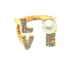 Fashblush Forever Glam Love Letters Pearl Dazzle Alloy Ring