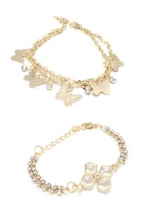 Fashblush Golden Butterfly Flower Charm Bracelets (set Of 2) (code Fb26124)