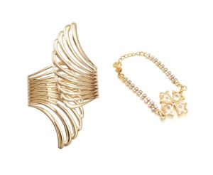 Fashblush Forever Angel Wing Gold Finish Combo Of Handcuff Kada Bracelet (set Of 2) (code - Fb26142)