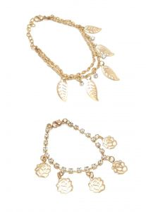 Fashblush Forever Golden Finish Combo Of Leaves And Flower Charm Bracelets (set Of 2) (code - Fb26144)