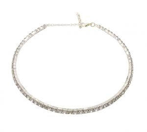 Fashblush Single Line Silver Cubic Zirconia Alloy Choker (product Code Fb28140)