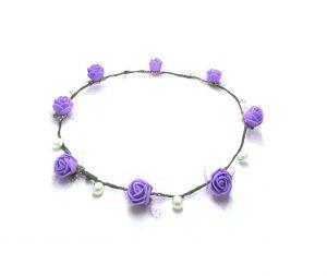 Hair Accessories (Misc) - FashBlush Forever Glam FloraNFashion Tiara Head Band(Purple, Green)