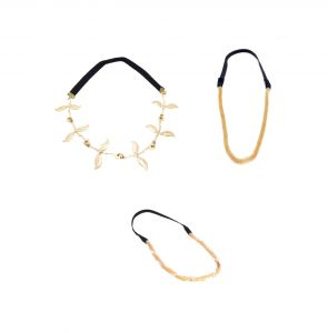 Fashblush Golden Black Grecian Girls Casual Party Combo Stretchy Head Bands (set Of 3)