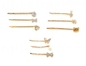 FashBlush Golden Enchanting Casual Wedding Party Hair Pins For Girls (Pack Of 9) ( Code FB30189)