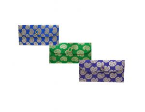 Fashblush Designer Ethnic Festivity Glamour Envelopes(pack Of 3 Green, Blue